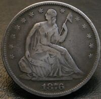 1876 S SEATED LIBERTY HALF DOLLAR  MICRO S TYPE 1 REVERSE WB 101 50C COIN