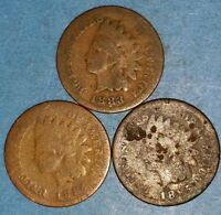 SET OF THREE 1883 1884 AND 1885 INDIAN HEAD CENTS  ID 52 3,10,21