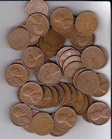 1956D WHEAT PENNIES FULL ROLL OF 50 PENNIES NICE COINS ALL READABLE DATES.