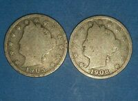 1905 AND 1906 LIBERTY NICKELS   ID  6-33,42