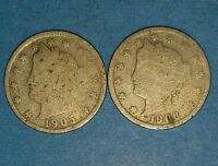 1905 AND 1906 LIBERTY NICKELS   ID  11-27,38