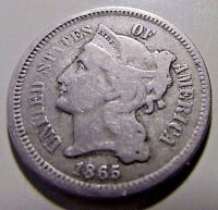 1865  3 CENT NICKELNICE VG MID GRADE DETAILS  EARLY DATE
