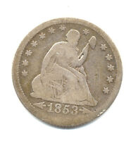 1853O LIBERTY SEATED QUARTER ARROWS AND RAYS FINE