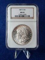 1887-S NGC MINT STATE 62 MORGAN SILVER$1 DOLLAR