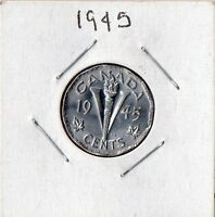CANADA 1945 5 CENTS VICTORY  GEORGE VI CANADIAN NICKEL