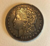 TONED AU 1921 D MORGAN SILVER DOLLAR NICE UNIQUE COIN BREAST FEATHERS 201