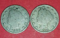 1905 AND 1911 LIBERTY NICKELS  ID 11-32,102