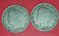 1905 AND 1908 LIBERTY NICKELS  ID 11-33,66
