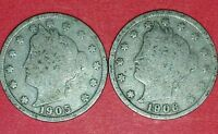 1905 AND 1906 LIBERTY NICKELS  ID 11-31,47