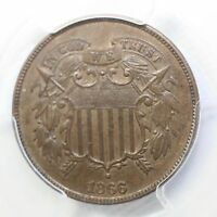 1866 TWO CENT PIECE PCGS MINT STATE 62BN  REV. TYE'S COIN STACHE 4812152