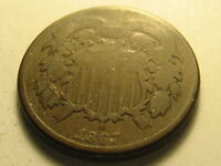 1867 TWO CENT PIECE WEAK REVERSE