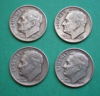 1951 D,1952 D,1953 D & 1954 D LOT OF FOUR ROOSEVELT DIMES SILVER