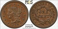 1848 N 28 BRAIDED HAIR LARGE CENT PCGS AU58 TWIN LEAF COLLECTION CERT  32915576
