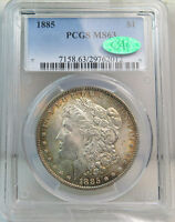 1885 MORGAN DOLLAR PCGS/CAC MINT STATE 63 VAM 9A FAR DATE CLASHED SUPERCD