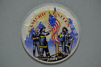 2001 SILVER EAGLE DOLLAR REMEMBERING OUR HEROS AMERICA UNITES STICKER CN1676