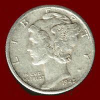 1945 D MERCURY 90 SILVER DIME SHIPS FREE. BUY 5 FOR $2 OFF