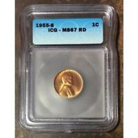 1955 S LINCOLN CENT ICG MS67 RD REV. TYE'S STACHE 020244