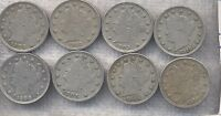 LOT OF 8 VF V NICKELS. 1900, 1903, 2X 1905, 1908, 1910 & 2X 1912.