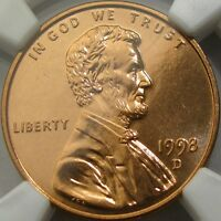 1998 D 1C NGC MS66 RD PL  LINCOLN CENT  RICH PROOFLIKE MIRRORS