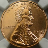 1998 D 1C NGC MS66 RD PL  LINCOLN CENT  BOLD PROOFLIKE MIRRORS