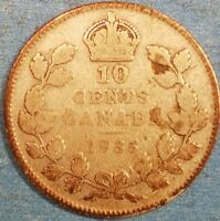 1935 CANADIAN SILVER DIME  ID 92 39