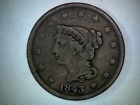 1843 BRAIDED HAIR  UNITED STATES LARGE CENT 173 YEAR OLD COPPER CENT.