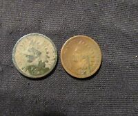 LOT OF 2 INDIAN HEAD CENTS - 1865 & 1875