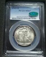 1943 D WALKING LIBERTY HALF DOLLAR - PCGS MINT STATE 67 CAC - REGISTRY QUALITY COIN