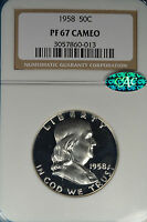 1958 FRANKLIN HALF DOLLAR NGC PF67 CAMEO  GORGEOUS FORMAL BEN CAC ENDORSED