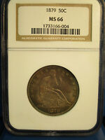 1879 50 CENT SEATED LIBERTY NGC MS 66
