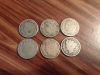 LOT OF 5 OLD LIBERTY