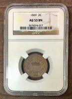 1869 TWO CENT PIECE NGC AU53 BN REV TYE'S COIN STACHE 4017140