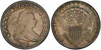 1807 DRAPED BUST HALF DOLLAR O-105A R-4 PCGS AU-55 GREAT COLOR