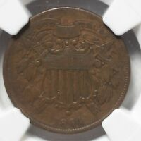 1864 TWO CENT PIECE SMALL MOTTO NGC F15 BN REV TYE'S COIN STACHE 6012316