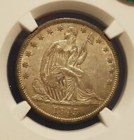 1843 SEATED HALF DOLLAR NGC AU 58 CAC GEM EYE APPEAL