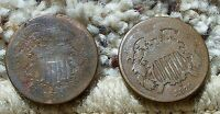 1870 & 1871 2 CENT PIECES-BOTH IN A  MEDIUM GRADE CONDITION