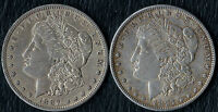 2  MORGAN SILVER DOLLARS    DETAILS  EXTRA FINE  1887-S & 1897-P   90 SILVER COINS