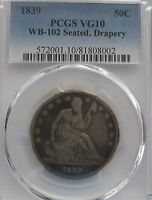 1839 SEATED DRAPERY LIBERTY HALF WB 102 VG10 PCGS POP 5
