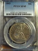 1843 50C LIBERTY SEATED HALF DOLLAR   PCGS XF 45