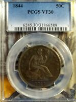 1844 50C LIBERTY SEATED HALF DOLLAR   PCGS VF 30
