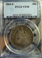 1864 S 50C LIBERTY SEATED HALF DOLLAR   PCGS VF 30