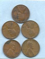 5 OLD LINCOLN CENTS $1 1935 1936 1937 1938 1939 GOOD CONDITION.