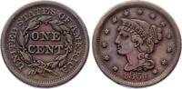 COIN UNITED STATES 1 CENT 1851 KM 67 XF