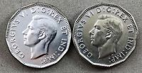 LOT OF 2   1945 CANADIAN 5 CENT NICKEL COINS   ONE MISSING CHROME?