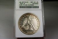 1843 P NO MOTTO SEATED  DOLLAR AU DETAILS.