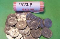 1981 P WASHINGTON QUARTER ROLL   40 COINS