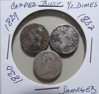3HALF DIMES CAPPED BUSTGOOD EARLY SILVER FILLERS
