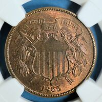 1865 TWO CENT NGC MINT STATE 64RB-  SUFACES, EYE APPEAL