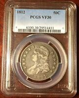 1812 CAPPED BUST HALF DOLLAR PCGS VF 30