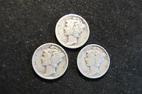 LOT OF 3 MERCURY SILVER DIMES   1935 D 1944 D AND 1945